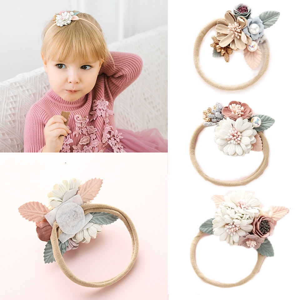1PCS Girls Flower Nylon Headband with Pearl, Vintage Floral Hair Bows Elastic Hairband for Kids Headwear Hair Accessories