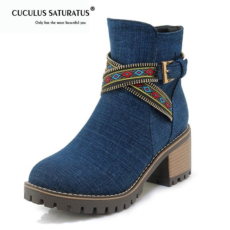 99f8e58e Cuculus 43 2019 Blue Botas Moda Negro dark Nueva Venta Zapatos Mujer Chunky  34 light 1305 Caliente Tamaño Tacones De Gran Tobillo ...