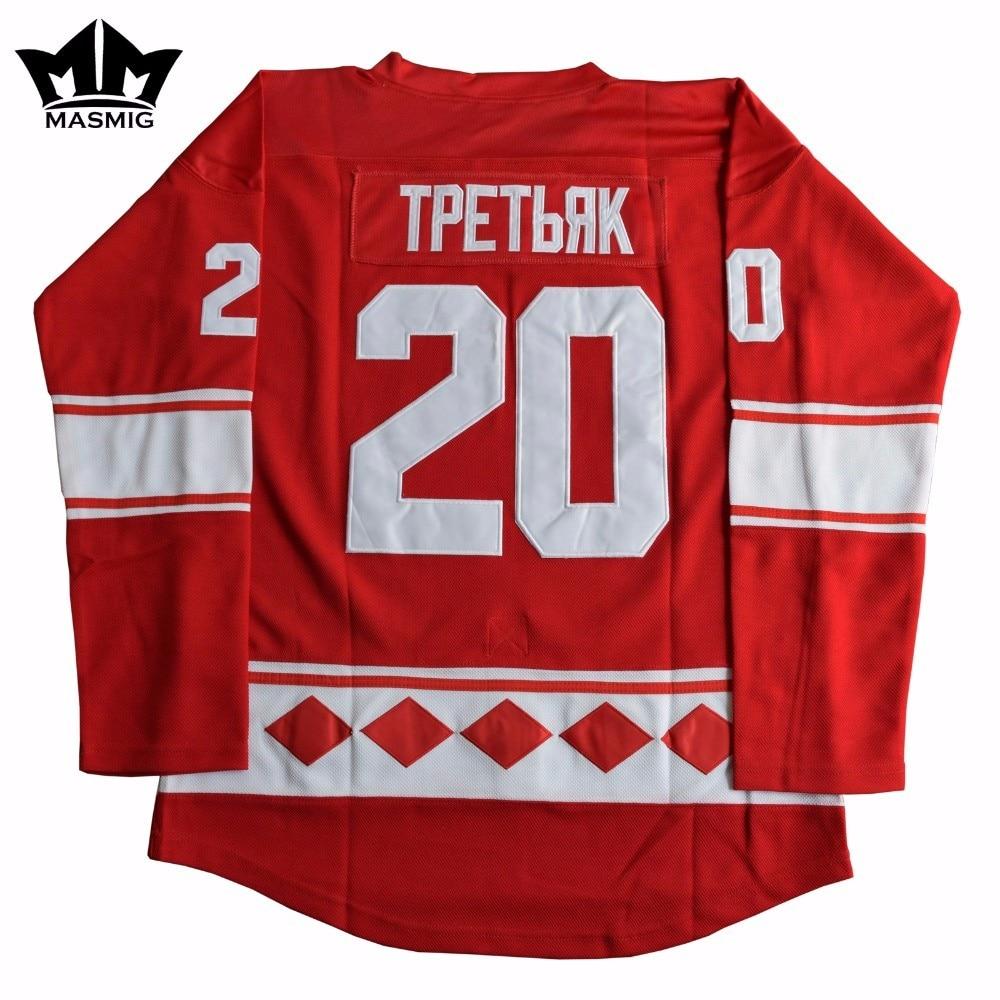 ФОТО  Vladislav Tretiak #20 CCCP Hockey Jersey Red For Free Shipping S-XXXL MM MASMIG