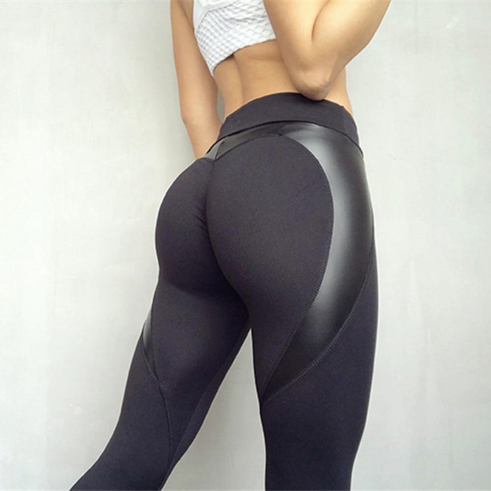 Black Heart Shape Booty Leggings PU Leather Patchwork Skinny Long Pants Women Push Up Workout Sporting Leggings PLUS SIZE XS-XL