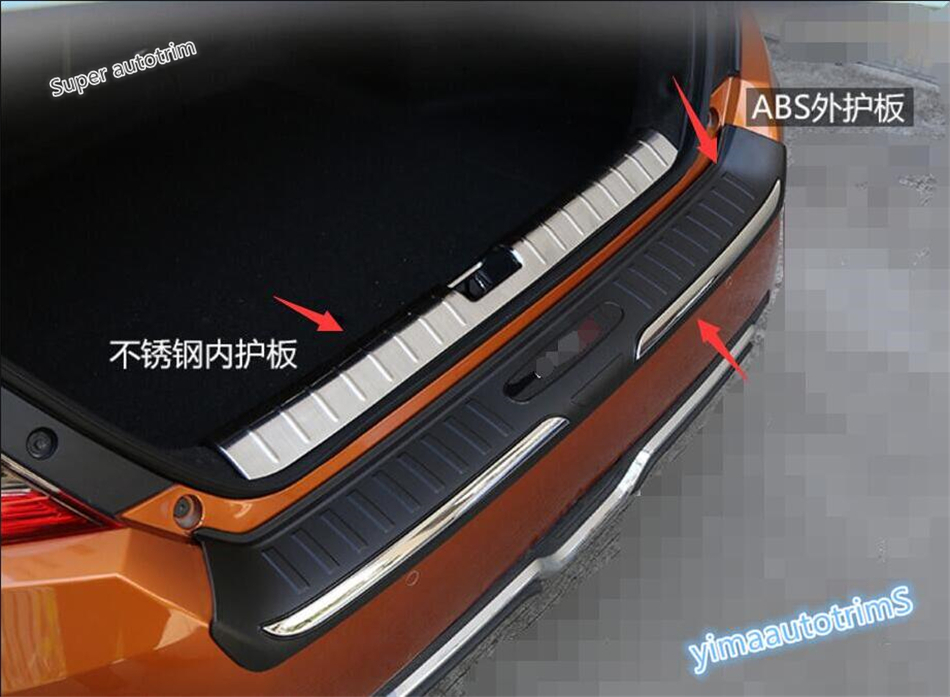 цены For Honda Civic 2016 2017 Sedan Rear Bumper ( inner + outer ) Door Sill Protector Plate Cover Trim 2 Pcs / High Quality
