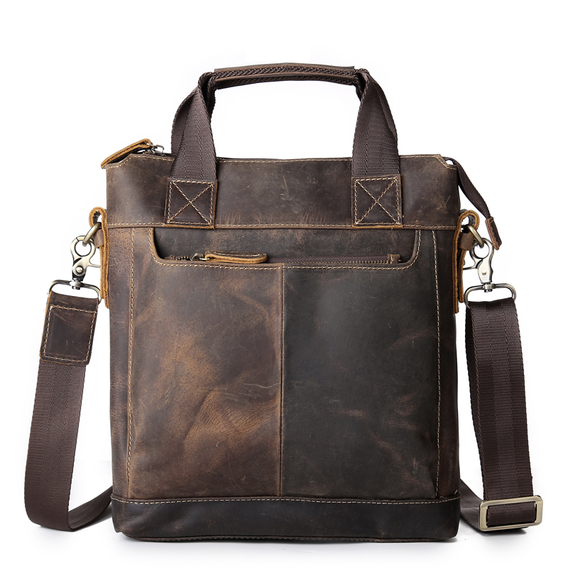 NEWEEKEND 5803 Vintage Genuine Leather Crazy Horse Handbags Briefcase Shoulder Crossbody Messenger iPad Bag Vertical for Man neweekend 1005 vintage genuine leather crazy horse large 4 pockets camera crossbody briefcase handbag laptop ipad bag for man