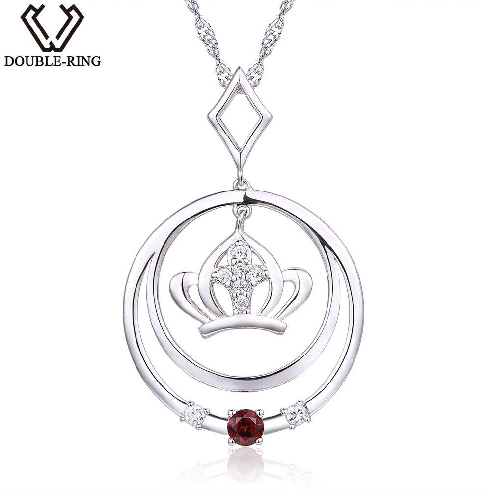 DOUBLE-R 0,16ct přírodní granát 925 šterlinků stříbrné 18 palcové řetízkové přívěskové náhrdelníky drahokam značky kulaté náhrdelníky pro ženy