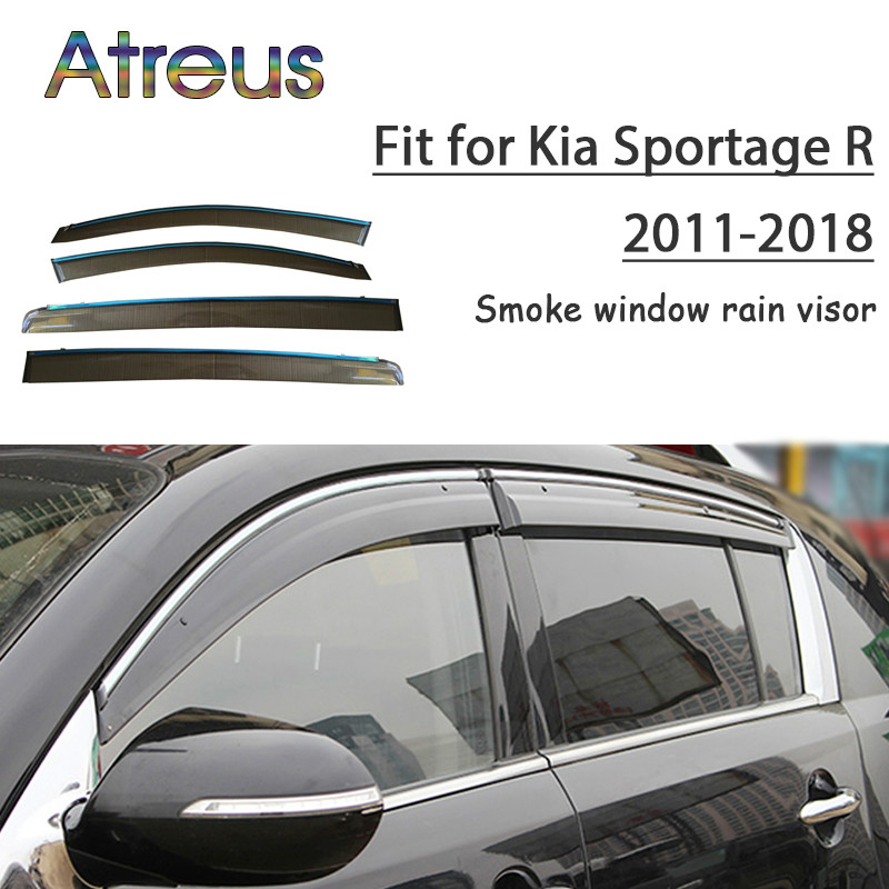 все цены на Atreus 1set ABS For 2018 2017 2016 2015-2011 Kia Sportage R Accessories Car Vent Sun Deflectors Guard Smoke Window Rain Visor онлайн