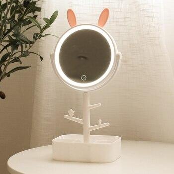 Maquillage Miroir Mignon LED lumière ronde cosmétique kawaii