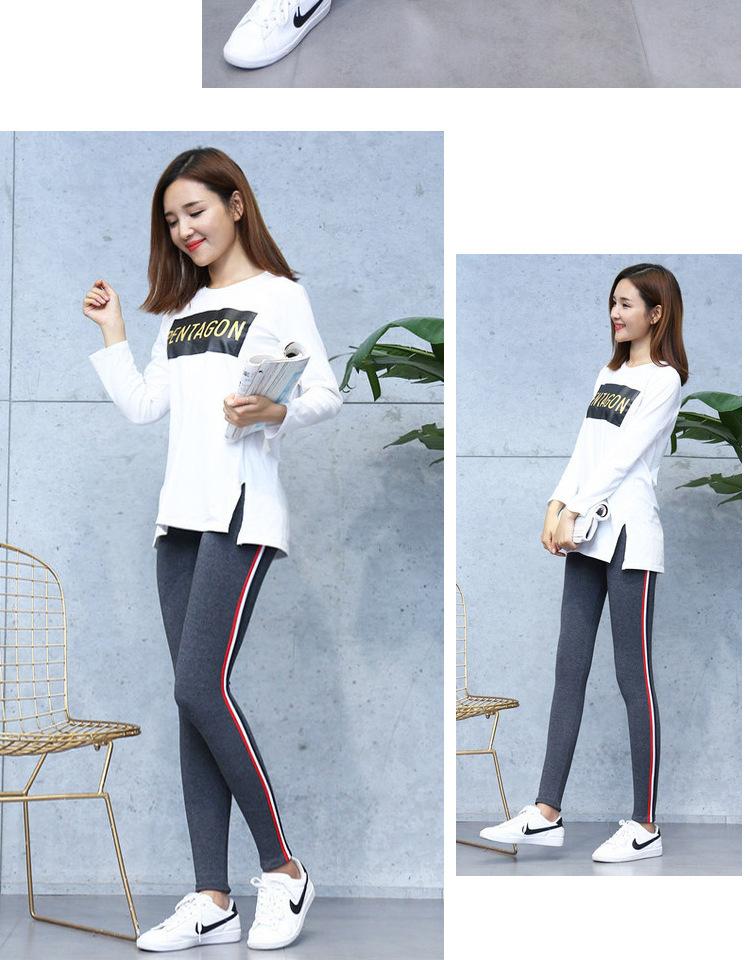 High Quality Cotton Leggings Side stripes Women Casual Legging Pant Plus Size 5XL High Waist Fitness Leggings Plump Female 27