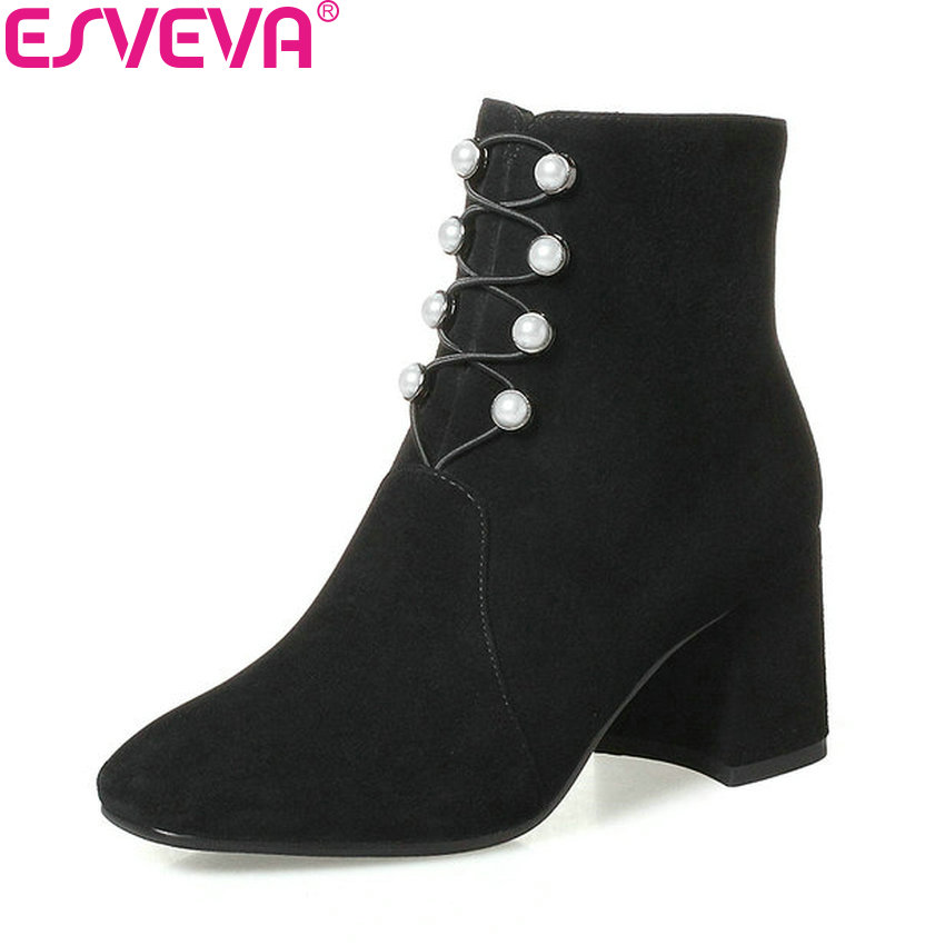 ESVEVA 2018 Western Style High Heels Women Boots Square Heel Ankle Boots Round Toe High Heels Ladies Elegant Boots Size 34-42 esveva 2018 women boots zippers black short plush pu lining pointed toe square high heels ankle boots ladies shoes size 34 39