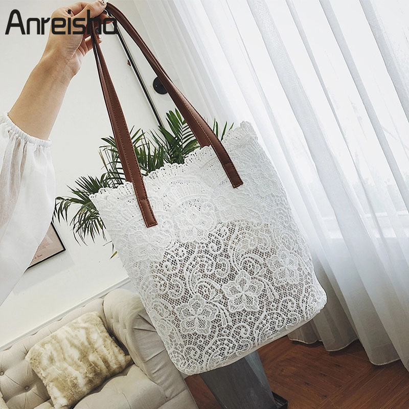 Anreisha fashion Women Female Handbags Preppy Lace Material Shoulder Bags For Women Girl Large Capacity Daily Tote Bag TopHandle