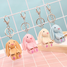 2019 Pop Cartoon Cute Resin Candy Color Rabbit Key Ring For Girls Schoolbag Pendant Jewelry Ring, ladies Car