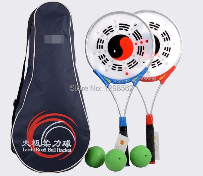 Занятий мягкой силы ракетка для мяча тай-чи тайцзи Софтбол кунг-фу ракетки + мяч + сумка 3 шт./компл.