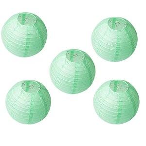 """Image 5 - 20 pçs 6 """" 12"""" mint lanternas de papel verde chinês japonês lampion redondo para festa de casamento lampion de mariage pendurado decoração diy"""