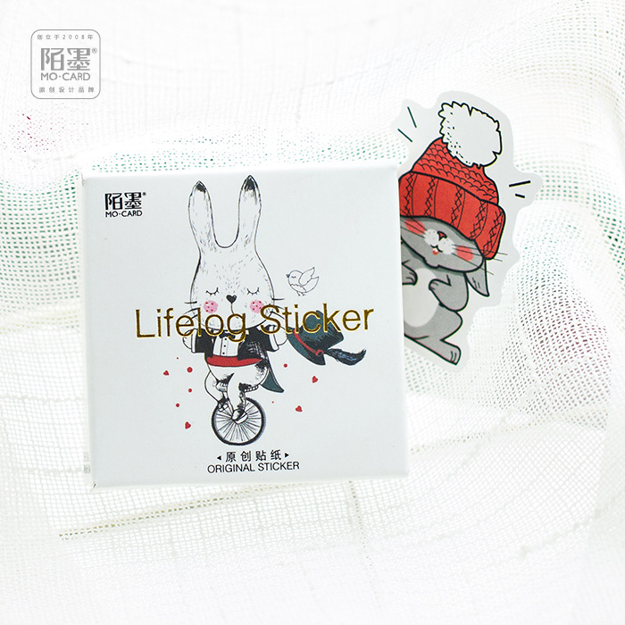 45Pcs/box Creative Rabbit Papers Stickers Flakes Vintage Romantic Love For Diary Decoration Diy Scrapbooking Stationery Sticker
