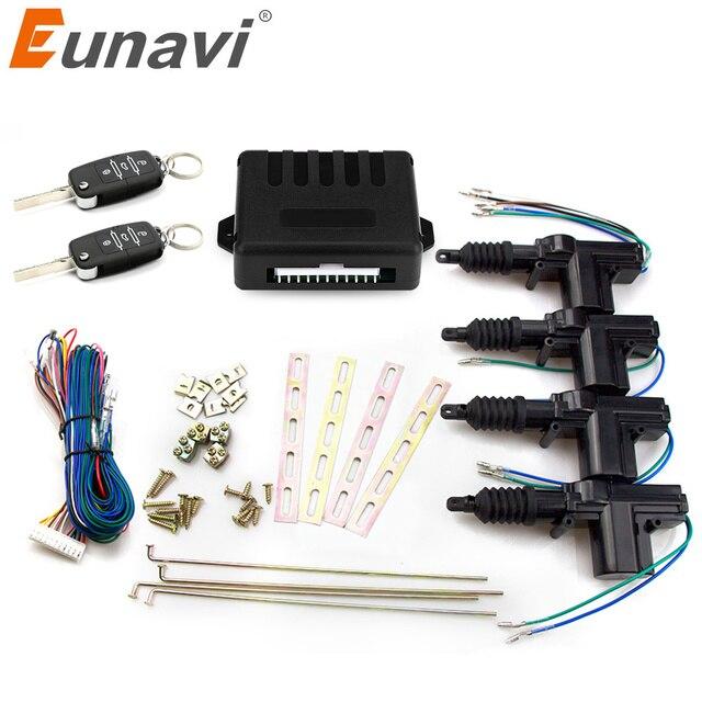 Eunavi Universal de coche de cerradura de la puerta del actuador Motor de 12 v (paquete de 4) coche de Control remoto de bloqueo Central, entrada remota sin llave, sistema