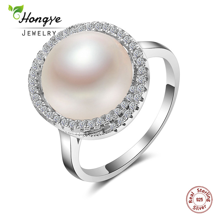 Hongye Authentic 925 Sterling Silver Elegant Beauty 12mm Big White Freshwater Pearl Ring for Women Wedding Fine Jewelry Gift