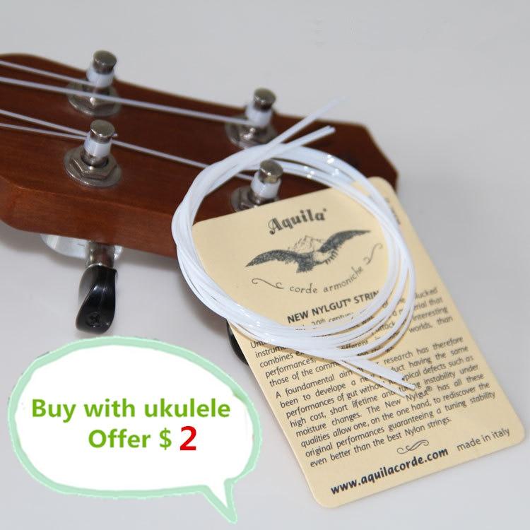 1-5 SET Ukulele 21 23 4 Strings Hawaii Small Guitar White Aquila Soprano Concert Nylon Parts  Accessories Musical Instruments 200b