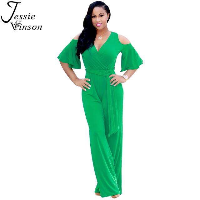 d2f697edaae7 Jessie Vinson Sexy V-neck Half Sleeve Cold Shoulder Loose Rompers Women  Jumpsuit Flare Sleeve Solid Long Pant Playsuit Overalls