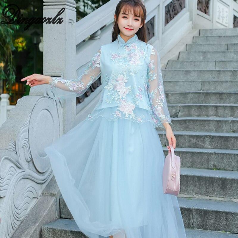 Dingaozlz long sleeve lace dress Vestidos Improved Cheongsam casual blue dress fashion elegant stitching women dress