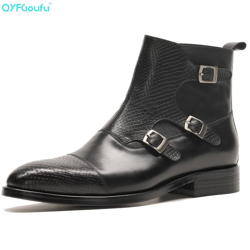 QYFCIOUFU Marke Neue männer Stiefel Aus Echtem Leder Männer Kleid Stiefel Schuhe Männlichen Britischen Chelsea Schnalle Herren Arbeit Stiefel