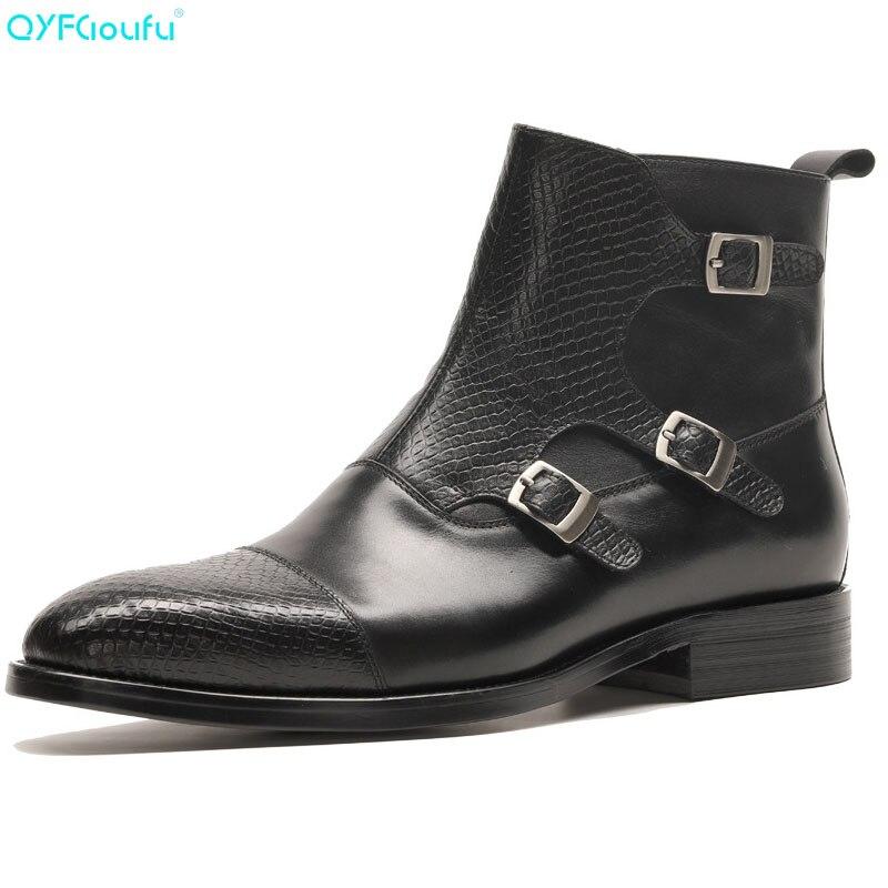QYFCIOUFU Merk Nieuwe mannen Laarzen Lederen Mannen Jurk Laarzen Schoenen Mannelijke Britse Chelsea Gesp Heren Werkschoenen