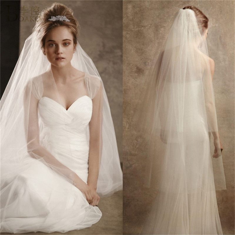 BOAKO Women Wedding Accessories 3M Or 2M White Ivory Wedding Veil With Comb Two Tier Long Cut Edge Bridal Veil Simple Women Veil