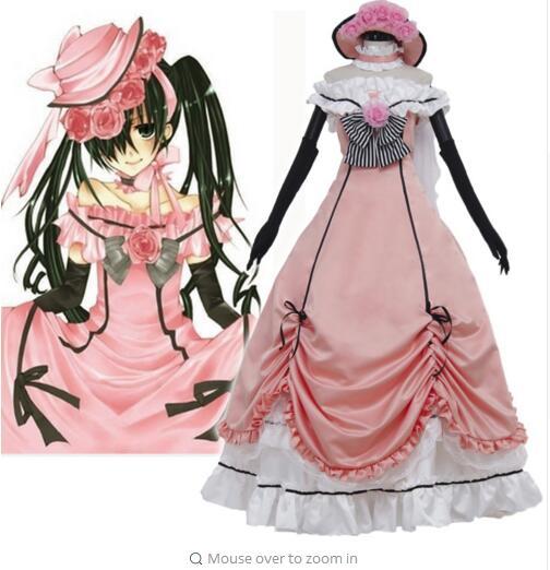Black Butler costume ciel Phantomhive Cosplay Costumes ciel dress for women lolita punk lace party dresses hat gloves set