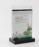 A5 Acrylic Magnetic Table Display Stand Holder Acrylic Desktop Label Sign Holder Black Bottom Menu List