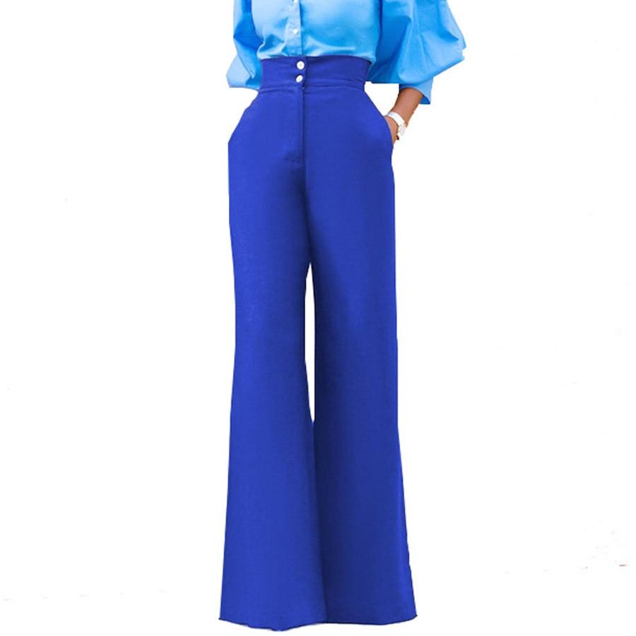 Women   Pant   2018   Wide     Leg     Pants   Women High Waist   Pants   Summer Trousers Loose High Quality Fashion Ladies   Pant   Solid Black