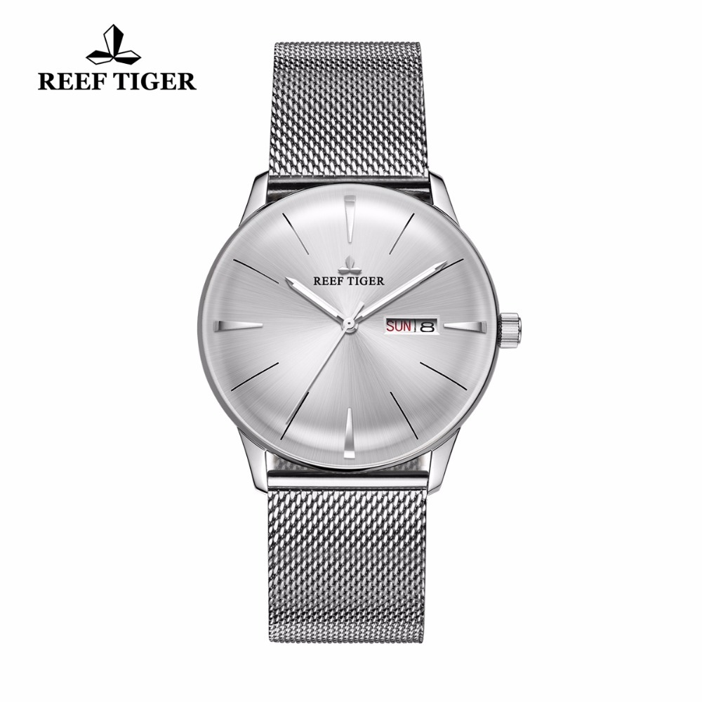 New Reef Tiger/RT Mens Designer Dress Watches with Date Day Full Steel Convex Lens Analog Watches RGA8238