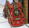 Hand Beaded Genuine Leather Guitar Personality Style Shoulder Messenger Bag Eye Catching