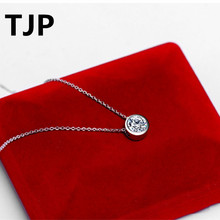 TJP Top Quality Round Cubic Zircon Choker Necklace Accessories Ture 925 Silver Pendants Necklace For Women Wedding Engagement louisa heaton a father this christmas