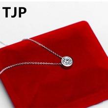 TJP Top Quality Round Cubic Zircon Choker Necklace Accessories Ture 925 Silver Pendants Necklace For Women Wedding Engagement джемпер женский baon цвет голубой b138503 blizzard размер m 46