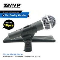 10 pçs/lote qualidade superior 58sk microfone cardióide profissional karaoke com fio microfone microfone 58skt para vocais ao vivo com transformador real