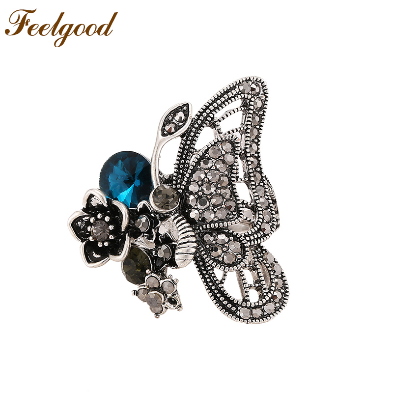 Feelgood New Arrival High Quality Antique Silver Color Vintage Butterfly Rings For Women