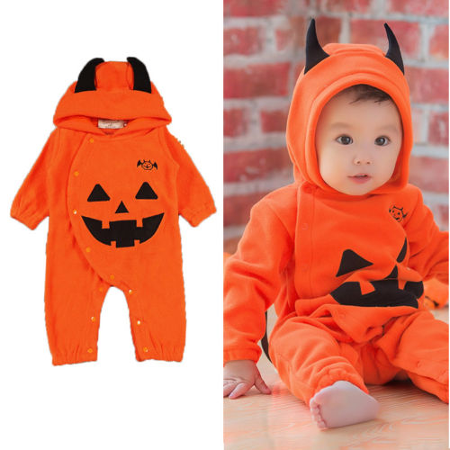 Cute Newborn Kids Baby Boy Girls Halloween Romper Jumpsuit Pumpkin Horn Hooded Pladysuit Sunsuit Toddler Infant Clothes Outfits