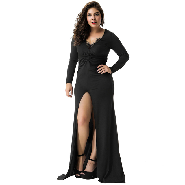 5ffb0df4e1 Deep V Neck Formal Dress V1012 Brief 2XL Black High Waist Women Long Dress  Sexy Solid Cotton Front Fork Lace Trim Autumn Dress
