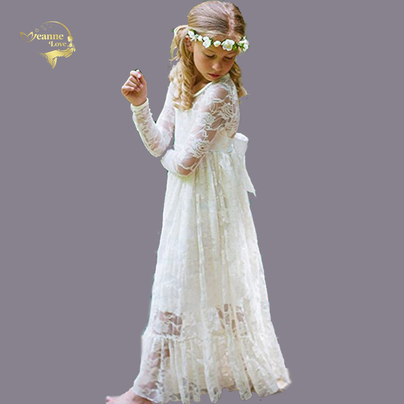 Little   Girl   Pageant   Dresses   Long Sleeves Simple Lace Kids Evening Gowns   Flower     Girls     Dresses   Age 2-12 Years Robe Fille Communion