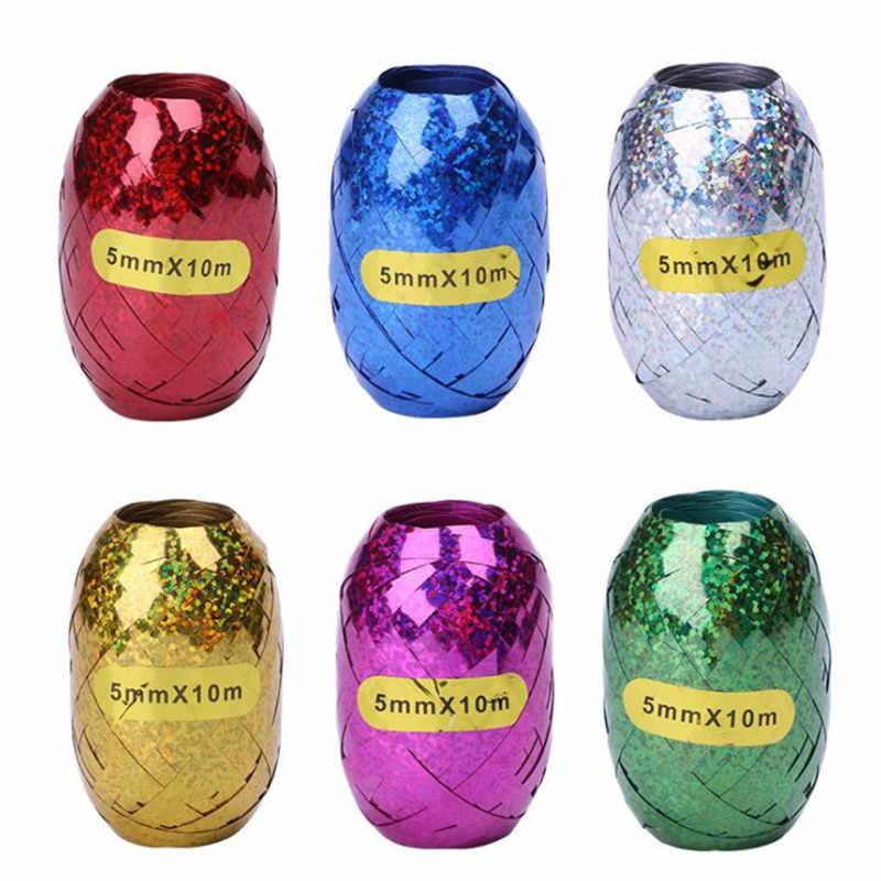 6pcs Multicolor ฟอยล์บอลลูนเชือกบอลลูนริบบิ้น 5mm * 10m งานแต่งงานวันเกิดบอลลูนเครื่องมือ Curling ริบบิ้นม้วน Ballon Streamer
