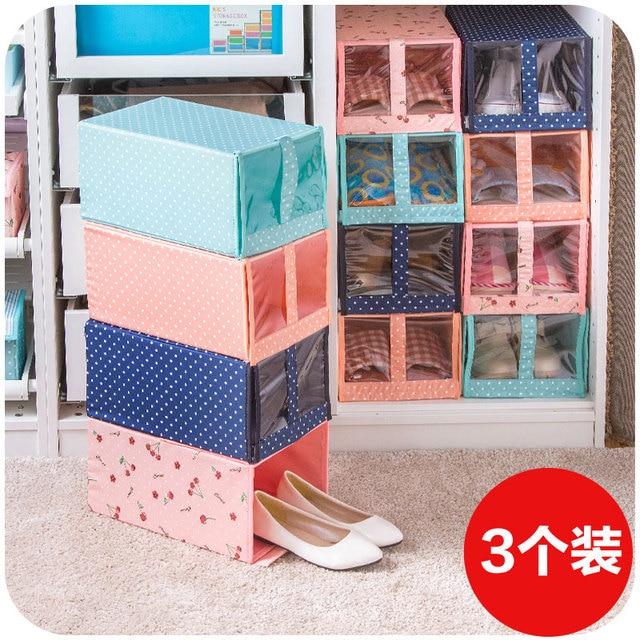 Свежий ткань окно прозрачным хранения обувной коробке три загружен, моющиеся ящик для хранения обуви поле