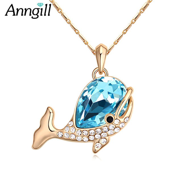 New Arrival Crystals from Swarovski Collier Fashion Lady Lovely Dolphin  Necklace High Grade Jewelry Pendan Chain