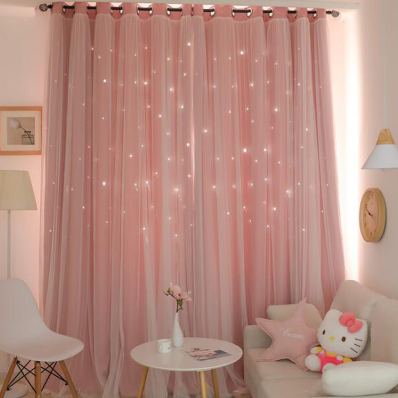 Solid hollow star set blackout curtains with white sheer brown gray pink green curtains+voile for bedroom