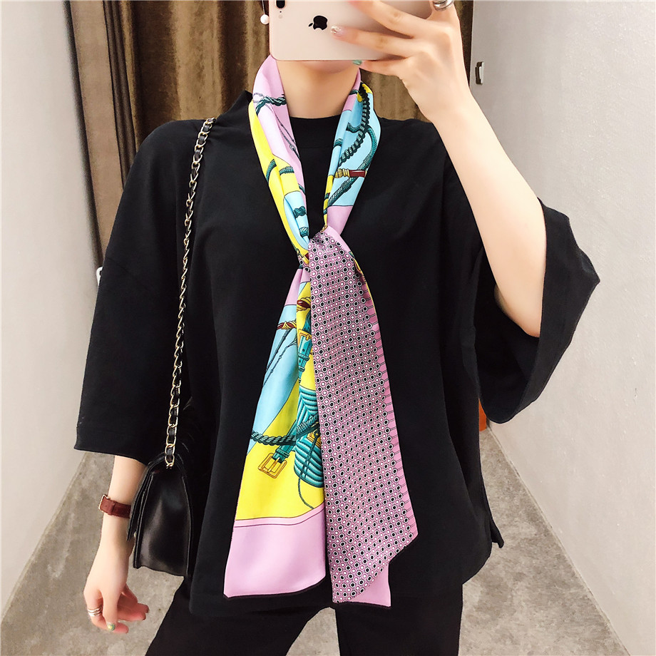 160cm Luxury Brand New Design Belt Chain Twill Scarf Double-deck Women Scarf Tie Head Silk Scarves Wraps Neckerchief For Ladies