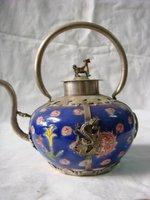RARE Tibetan Blue porcelain dragon &Lucky word Teapot. Garden Decoration 100% real Tibetan Silver Brass