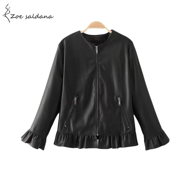 Zoe Saldana 2018 Autumn Faux PU Coat O-neck Three Quarter Sleeve Leather Jacket Women Cute Ruffles Streetwear Coat
