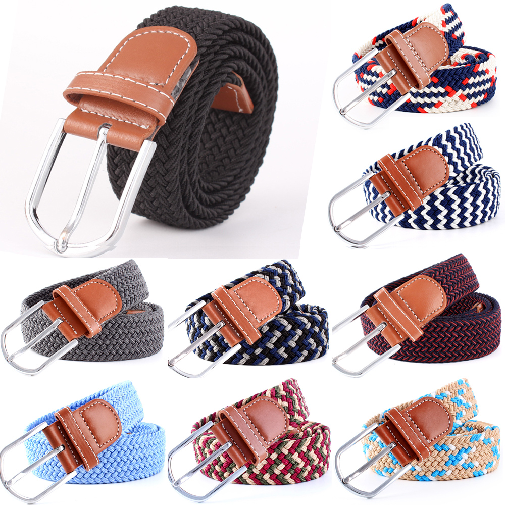 Men Women Pin Buckle Crochet Stretchy Skinny   Belt   Knitted Elastic Woven BLTYN0088