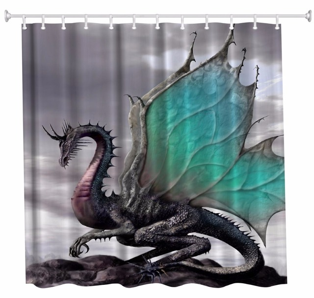 Dragon Bathroom Shower Curtains Waterproof Polyester Fabric Bath 3D Rideau De Douche Cortinas Bano
