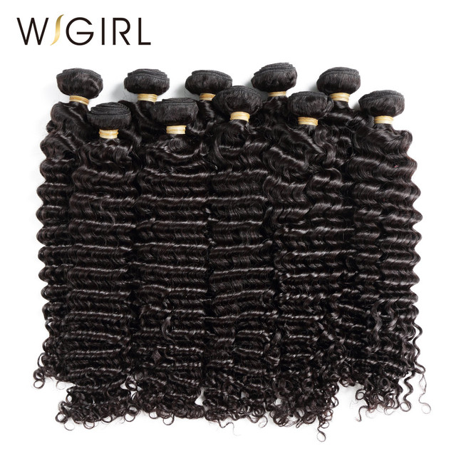 Wigirl Hair Deep Wave Human Hair Weave Bundles 10pcs Brazilian Remy