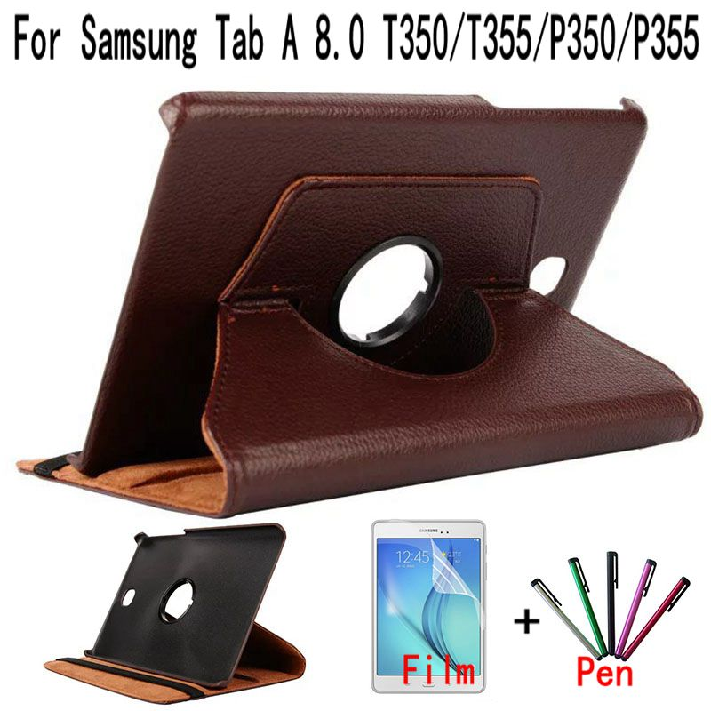 Top Quality Standing 360 Rotating PU Leather Cover for Samsung Galaxy Tab A 8.0 T350 T355 P350 Tablet Case+Free Screen Film+Pen