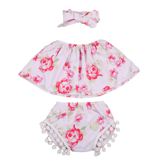 9df31c1a20bc 3pcs Kids Toddler Baby Girls Outfits Clothes Off Shoulder Flower ...