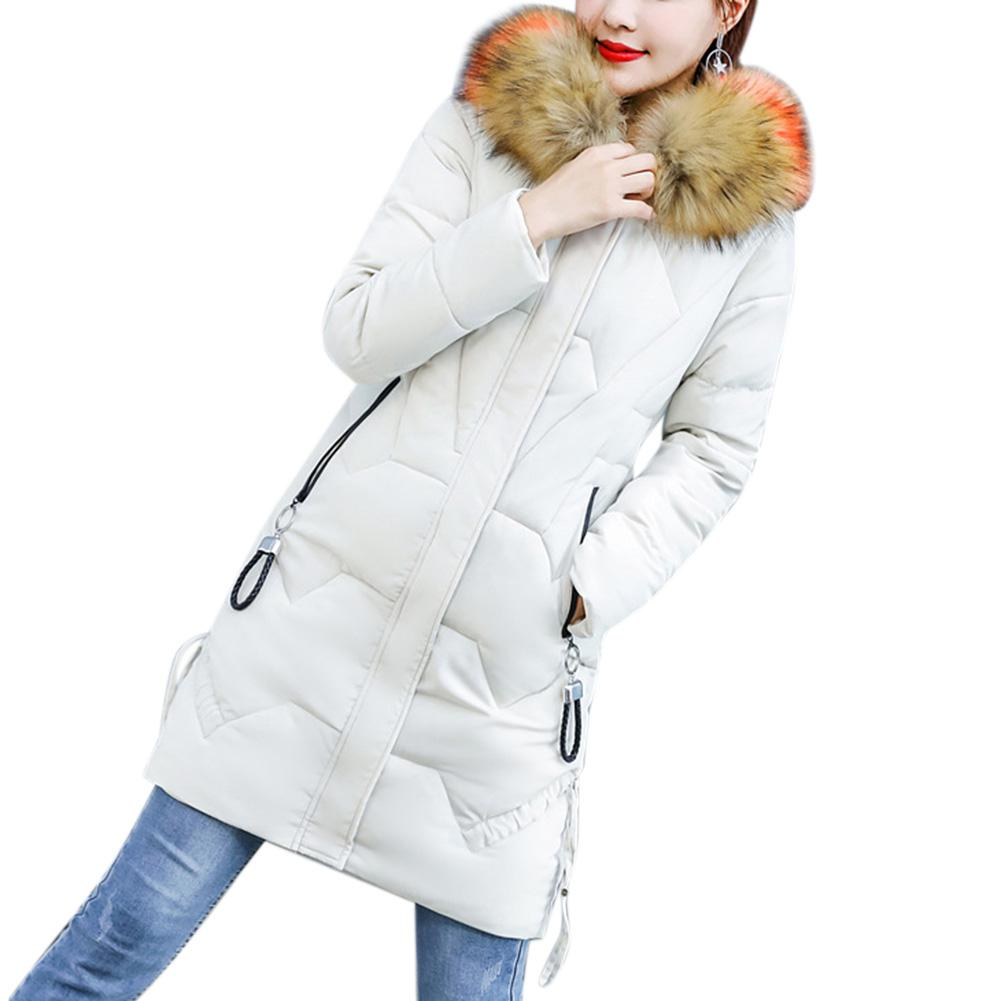 MISSKY Women   Parkas   Medium Solid Color Long Type Cold-proof Large Warm Collars Thickened Down Jacket For Winter