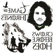 Водонепроницаемая временная татуировка наклейка Игра престолов Джон Снег волк волки ворона белые ходунки татуировка татуировка поддельные тату 4